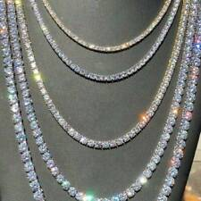 Gold Plated CZ Cubic Zirconia Crystal Choker Necklace Tennis Chain Jewelry Uk