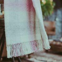 The Weaving Shed UK Wool Blanket Pink & Grey Plaid Throw Beautiful