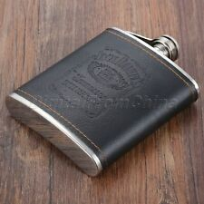7oz Liquor Hip Flask Outdoor Whiskey Alcohol Wine Flagon Bottle Engrave PU Steel