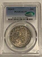 1824/4 Capped Bust Half Dollar PCGS CAC AU55!!