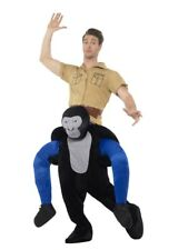 Piggyback Gorilla Costume Mens Rideon Animal Jungle Halloween Fancy Dress Outfit