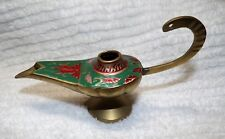 Vintage Brass Aladdin Genie Oil Lamp/Incense Burner Hand Painted