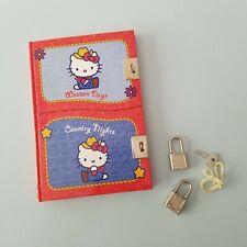 Hello Kitty Dual Diary Red Cowgirl Western Hard Cover Journal Key Lock Kawaii