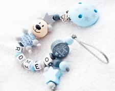 Schnullerkette mit Namen ♥ kleiner Bruder ♥ Teddy ♥ Baby Junge Geschenk blau