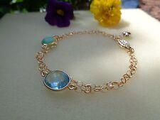 Goldenes Armband, 585 Goldfilled,mit Blautopas u. Chrysopras