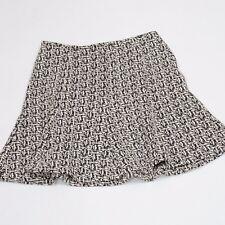 Banana Republic Women's Black and Cream Pattern Flare Tweed Mini Skirt Size 6