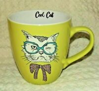 Cool Cat Kitty Face Clay Art Glasses Bow Tie Green Large Coffee Cup Mug 20 oz