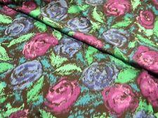 tissu rose bleu violet feuille  coupon 155cm X 298cm neuf mercerie couture 106