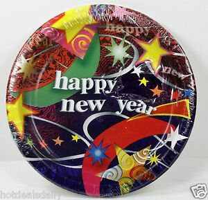 """8ct 6-3/4"""" HAPPY NEW YEAR'S EVE CELEBRATION PAPER PLATES YEAR FESTIVE PARTY"""