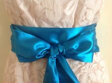 "3.5""X 85"" TEAL BLUE SATIN SASH BELT SELF TIE BOW RIBBON FOR PARTY WEDDING DRESS"
