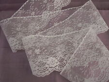 White Flat Lace Trim, 4 In Wide, 6 YARDS, Raschel Lace