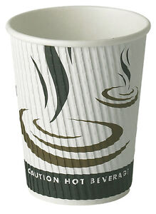 8oz Weave Disposable Paper Hot Drink Coffee / Tea Catering Cup 25, 50 and 500
