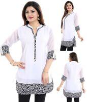 Women Indian Short Kurti Georgette Top A-Line Kurta Shirt Dress SC1030 WHITE