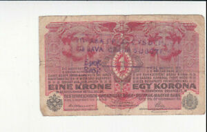 1 KORONA VG BANKNOTE WITH STAMP FROM SERBIA/SUBOTICA-SZABADKA 1919