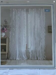 "4 (2 Pr) Simply Shabby Chic White Ruffled Window Panel Curtain  84"" L"