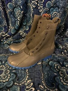 "NEW! RARE SMALL BATCH L.L. Bean 8"" Duck Boots GREY/BRIGHT BLUE Women's 6 = 7.5-8"