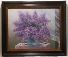 Lilacs in the Window 8x10, framed original oil painting by Celene Farris, Maine