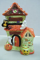 """VINTAGE Hand Painted """"Haunted Inn"""" Ghost Spider Votive Candle Holder 6 1/2"""" Tall"""