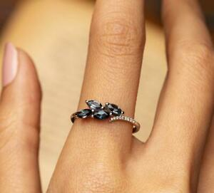 White Gold Plated Color Changing Blue Alexandrite Cluster Ring, Wedding Ring