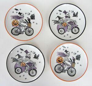 "COBWEBS & CAULDRONS HALLOWEEN Skeletons Bicycle Appetizer Plate 5 3/4"" Set 4 NEW"