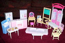 Vintage BARBIE DOLL Furniture Bathtub Stove Vanity School desk Computer Table