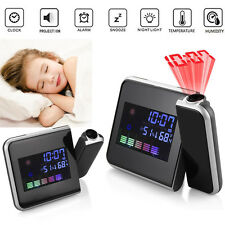 Digital LED Time Projector Weather Thermometer Snooze LCD Color Alarm Clock UK