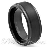 🔥 Black Titanium Ring Mens Brushed Matte Anniversary Engagement Wedding Band