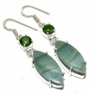 "Green Opal, Peridot Gemstone Handmade Silver Jewelry Earring 2.2"" ERJ2202"