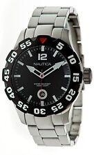 Nautica BDF 100 Black Dial Rotating Bezel Steel Men's Watch N18622G New in Box