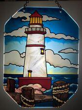 Joan Baker hand painted art glass Sunsmiles Suncatcher Lighthouse new item