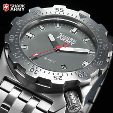 Marine 100M SHARK ARMY Diver Military Men's Grey Sport Watch + Steel Gift Box
