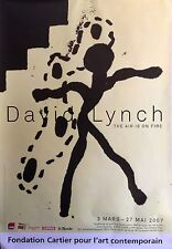 "DAVID LYNCH THE AIR IS ON FIRE ORIGINAL FRENCH EXHIBITION POSTER 2007 69"" X 47"""