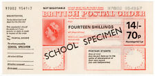 (I.B) Elizabeth II Revenue : Postal Order 14/- (dual currency) school specimen