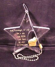 """Beautiful 3.5"""" Acrylic Star with Baby Jesus Ornament """"Away in a manager..."""""""