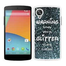 Funda carcasa para LG Nexus 5 frase warning i may sneeze glitter at any moment e