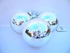 Gisela Graham Navidad LACA PLATA / blanco Conjunto Copos De Nieve Cristal Bola