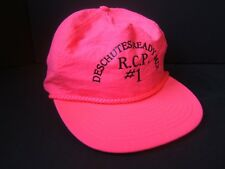 Deschutes Ready Mix Concrete Spell Out Hipster Work Hat VTG Pink Strapback Cap