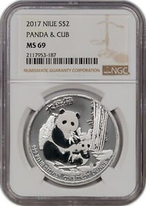 2017 NIUE SILVER 2 DOLLARS PANDA & CUB NGC MS 69 PROOF FINEST KNOWN