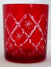 Collectible Ruby Red Stained Glass/Crystal Cut to Clear Stars Votive/ Tealight