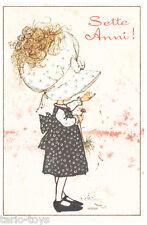 HOLLY HOBBIE 70s Mondadori italy greeting card  - biglietto auguri 7 anni