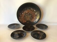 Vtg 1954 Peacock Lacquer Ware Plate and Bowl Set Inlaid Mother Of Pearl Japan