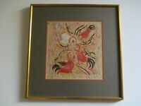 VINTAGE WOODBLOCK PRINT ABSTRACT CHICKEN  MODERNISM SIGNED SYLVIA GUIDICI 1960'S