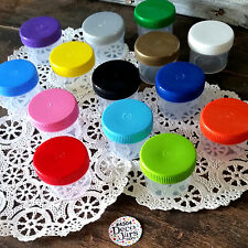 28 Plastic Small Jars Containers Color caps #4304 1oz to top  Herbs DecoJars USA