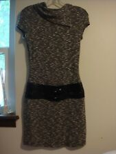 TABOO Black & White Variegated Split Neck Knit M Cap Sleeve Belted Sweater Dress