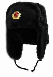 RUSSIAN TRAPPER UNISEX HAT WITH SOVIET BADGE FAUX FUR USHANKA COSSACK FLAPS