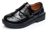 Boys Leather Patent Black School Shoes Size 8 Inf / 8 Jun Size Hook&Loop Closure