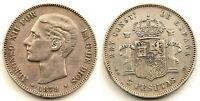 Spain-Alfonso XII. 5 Pesetas 1879*18-79. Madrid. EBC-/XF- Plata 25 g. ESCASA
