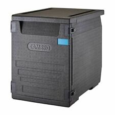 More details for cambro insulated front loading food pan carrier with 6 rails in black - 126l