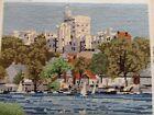 Windsor Castle + Thames Completed Wool Tapestry Queen Elizabeth 2 RoyalResidence