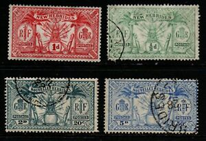 New Hebrides selection of 4 France & GB m/mint & used.